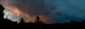 rainbow sunset from the backyard